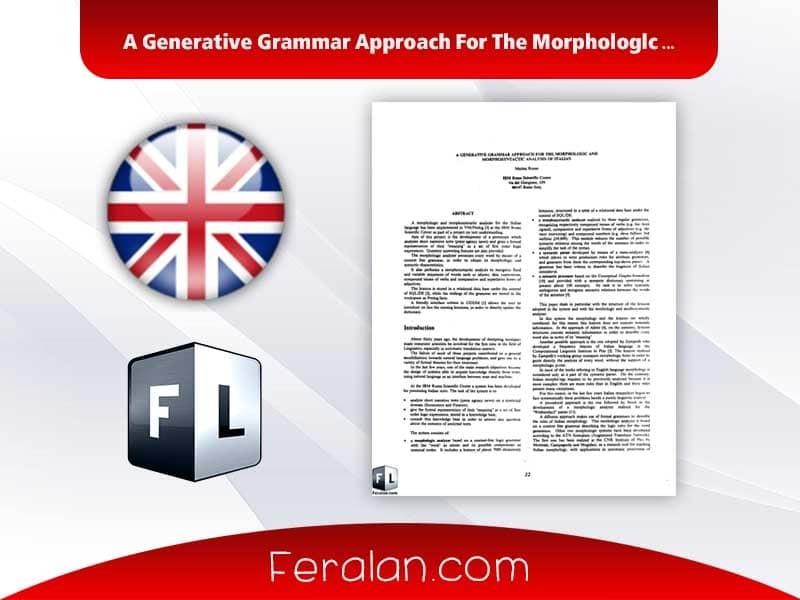 A Generative Grammar Approach For The Morphologlc