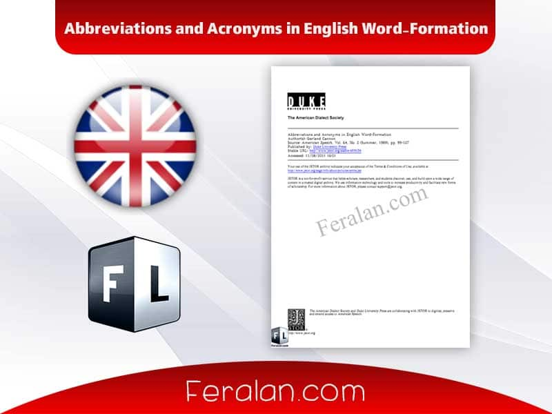Abbreviations and Acronyms in English Word-Formation