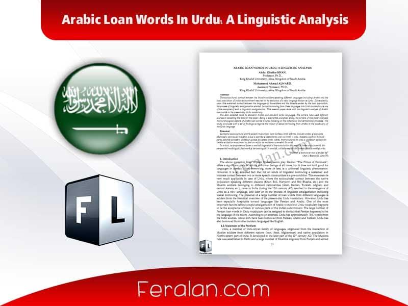 دانلود کتاب Arabic Loan Words In Urdu: A Linguistic Analysis