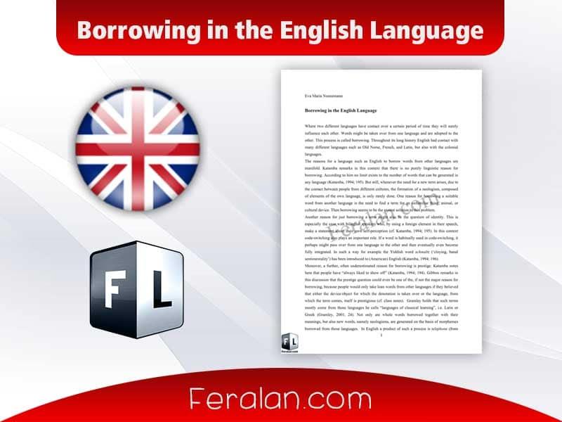 Borrowing in the English Language