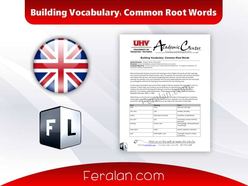 Building Vocabulary Common Root Words