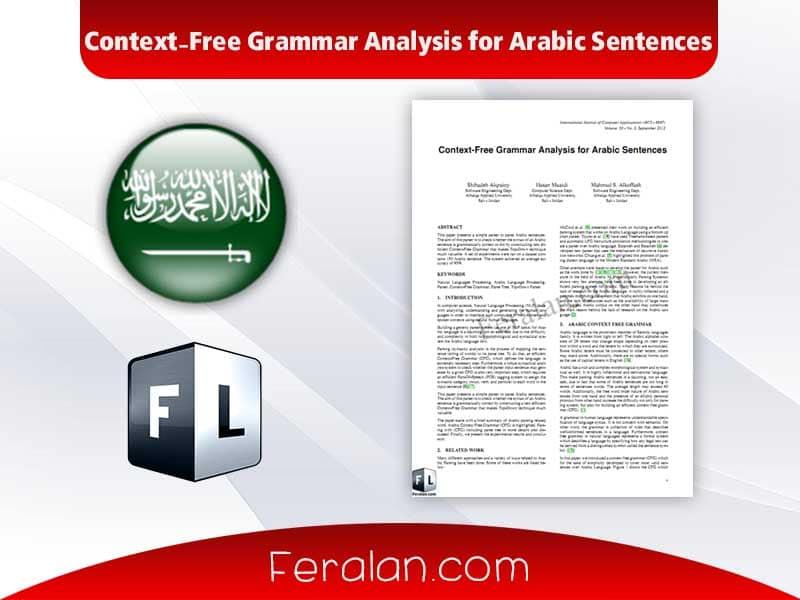 Context-Free Grammar Analysis for Arabic Sentences