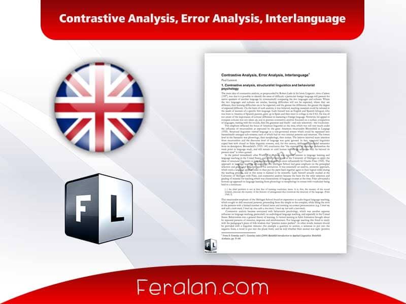 Contrastive Analysis, Error Analysis, Interlanguage