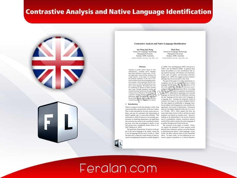 Contrastive Analysis and Native Language Identification