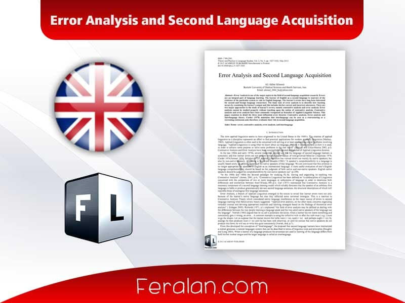 Error Analysis and Second Language Acquisition
