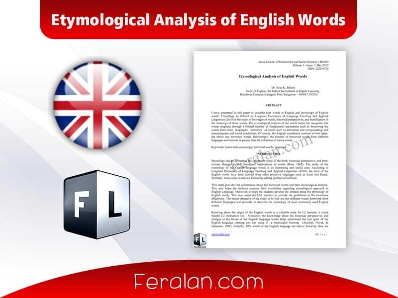 Etymological Analysis of English Words