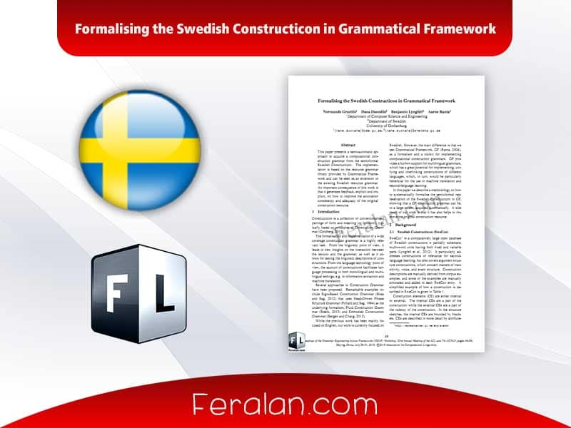 دانلود مقاله Formalising the Swedish Constructicon in Grammatical Framework