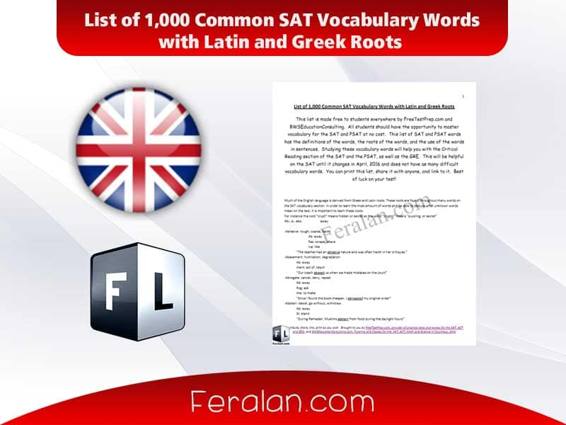 دانلود کتاب List of 1,000 Common SAT Vocabulary Words with Latin and Greek Roots