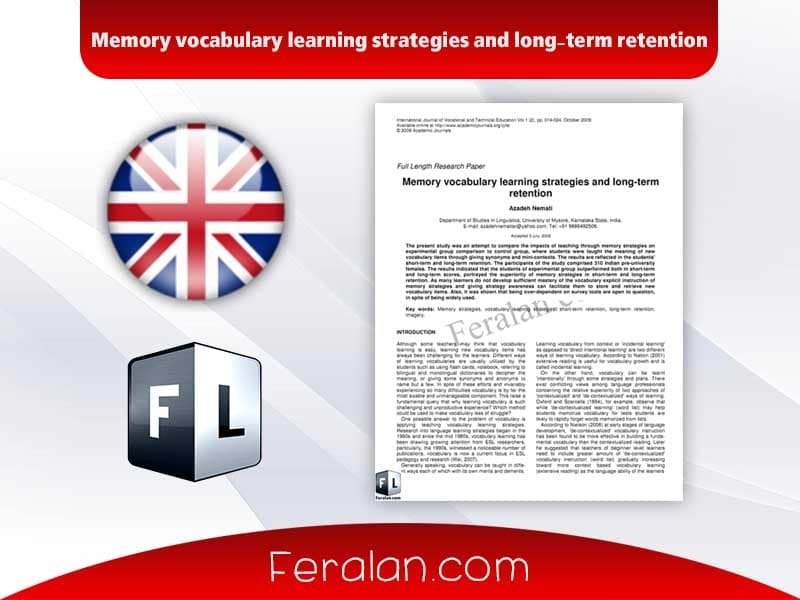 دانلود مقاله Memory vocabulary learning strategies and long-term retention