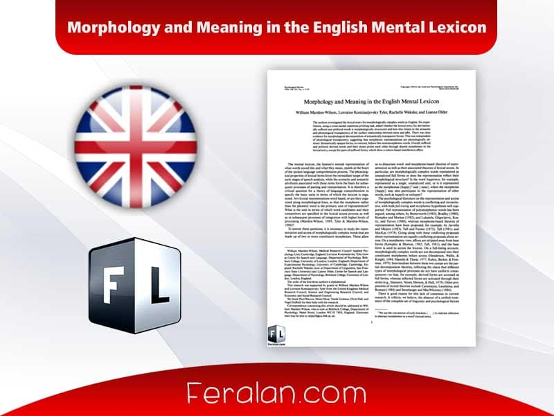 دانلود مقاله Morphology and Meaning in the English Mental Lexicon