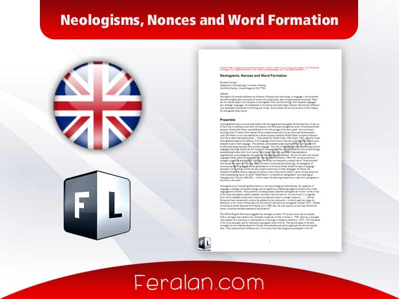 Neologisms, Nonces and Word Formation