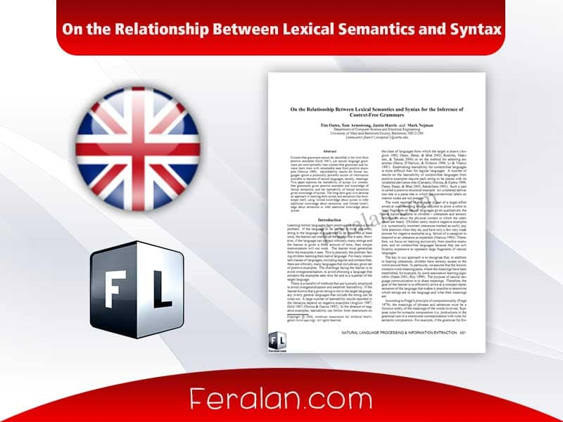 On the Relationship Between Lexical Semantics and Syntax