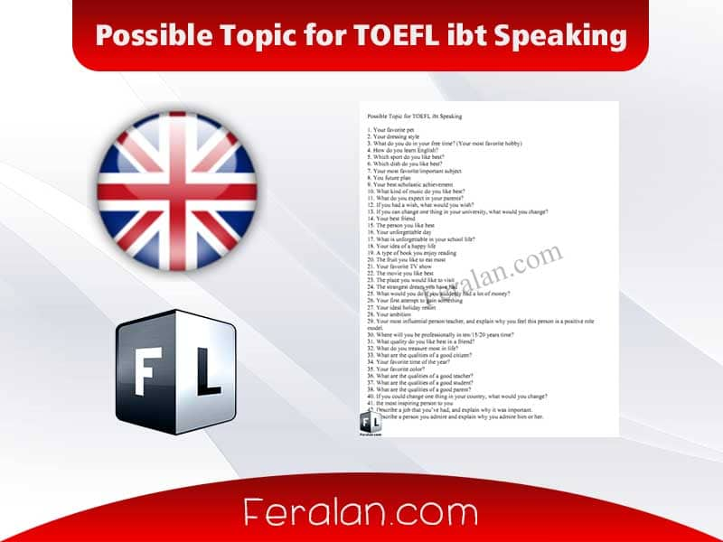 Possible Topic for TOEFL ibt Speaking