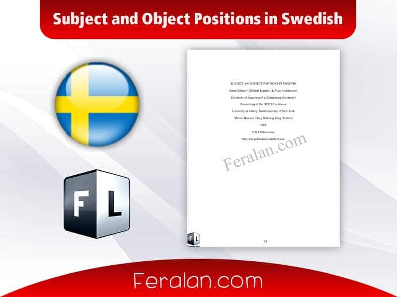 دانلود کتاب Subject and Object Positions in Swedish