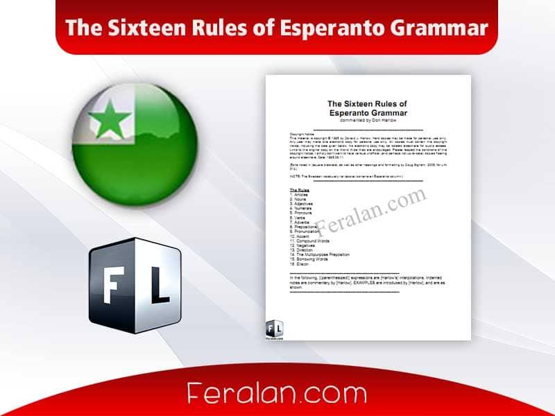 The Sixteen Rules of Esperanto Grammar