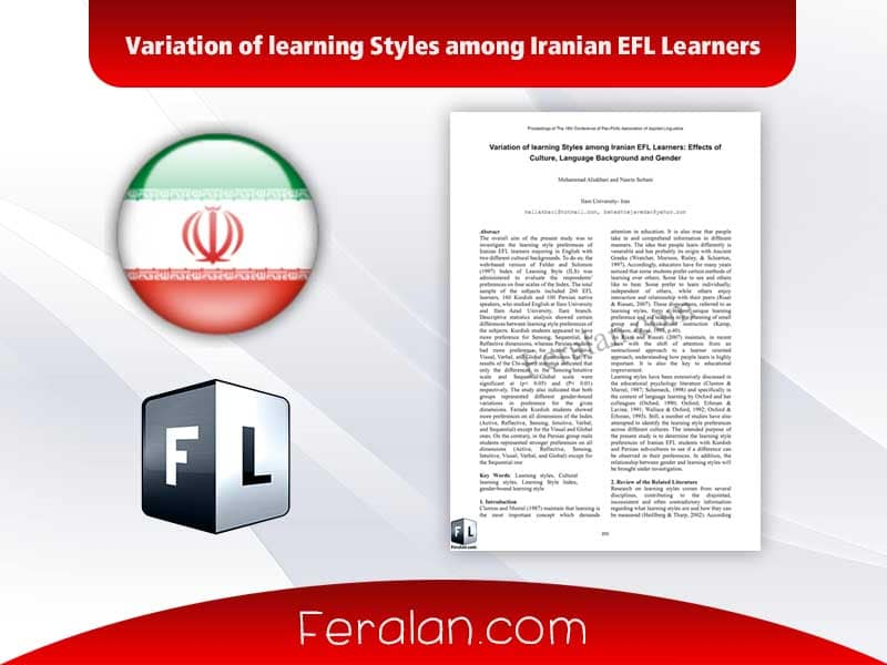 Variation of learning Styles among Iranian EFL Learners